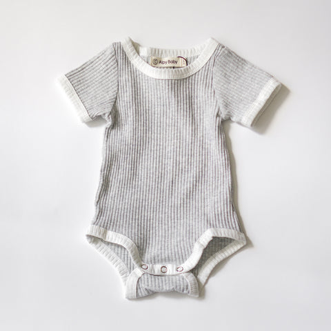 Camp Ribbed Ringer Romper - Heather