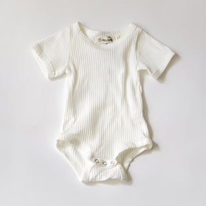 Camp Ribbed Ringer Romper - Marshmallow