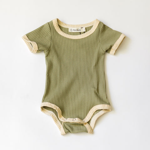 Camp Ribbed Ringer Romper - Sage