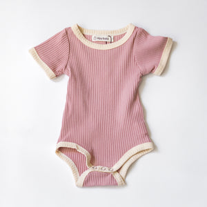Camp Ribbed Ringer Romper - Strawberry