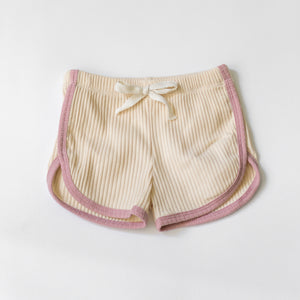 Camp Ribbed Track Shorts - Linen