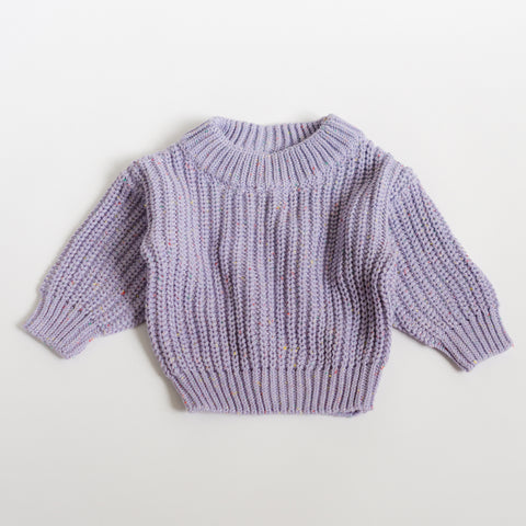 Chunky Knit Pullover - Lavender Sprinkle