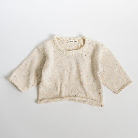 Sprinkled Long Sleeve Knit Top - Natural