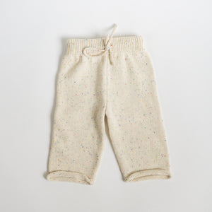 Sprinkled Straight Leg Knit Pants - Natural