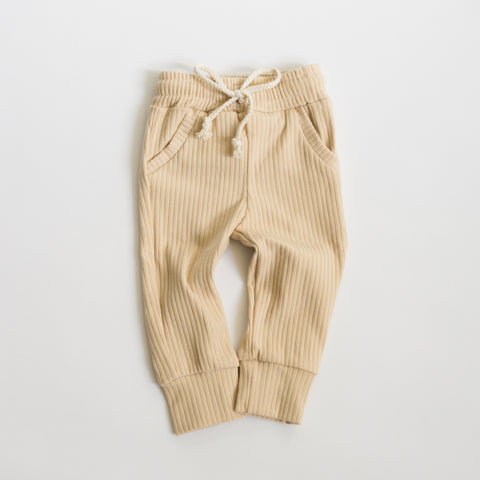 Ribbed Pocketed Pants - Sand