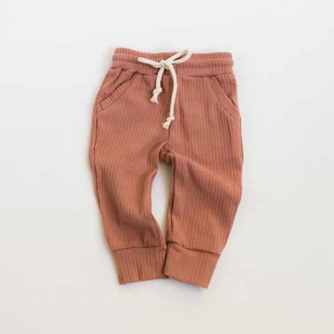 Ribbed Pocketed Pants - Terracotta