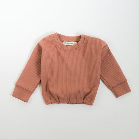 Ribbed Long-Sleeve Pullover - Terracotta