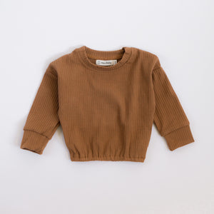 Ribbed Long-Sleeve Pullover - Walnut