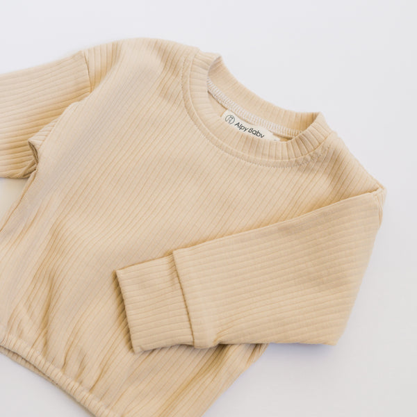Ribbed Long-Sleeve Pullover - Sand