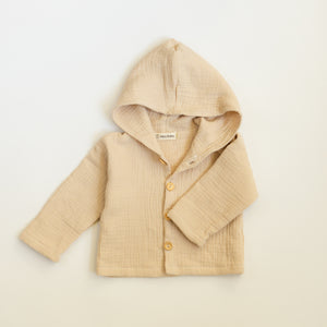 Textured cotton jacket for babies and toddlers made from double gauze muslin fabric in light beige