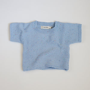 Sprinkled Short Sleeve Knit Top - Frosty