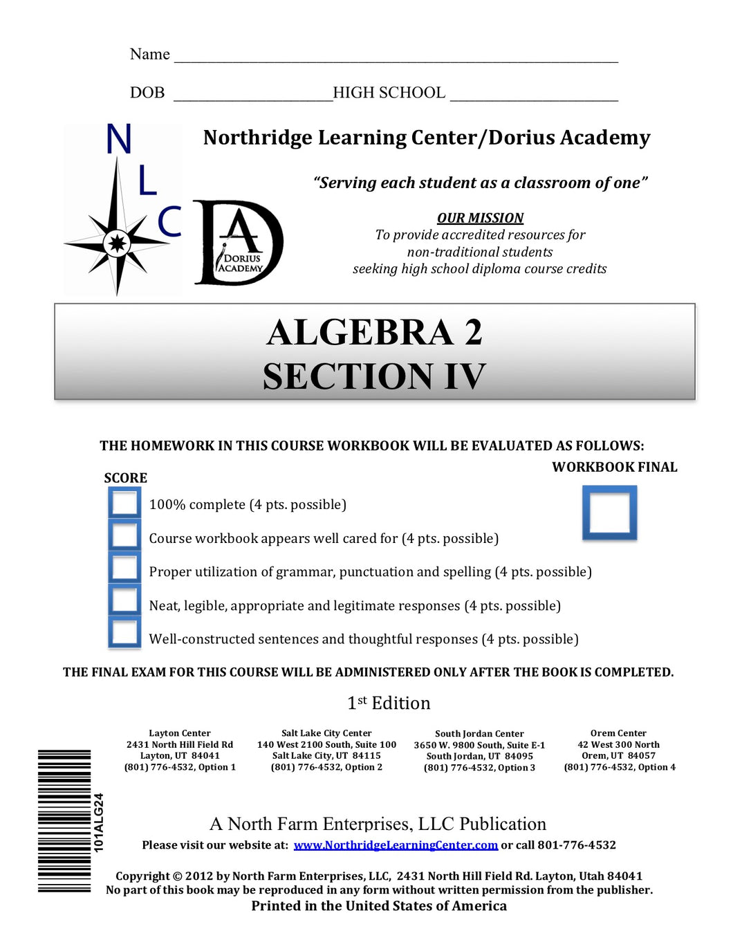 Algebra II, Section IV