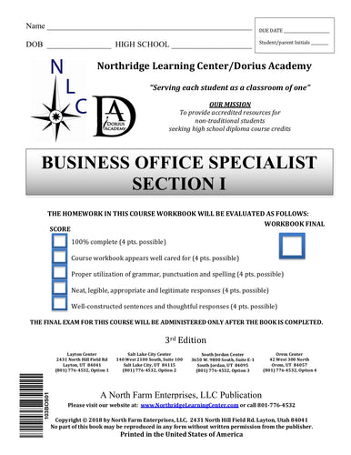 Business Office Specialist, Section I