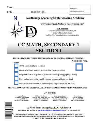 CC Math, Secondary 1, Section I