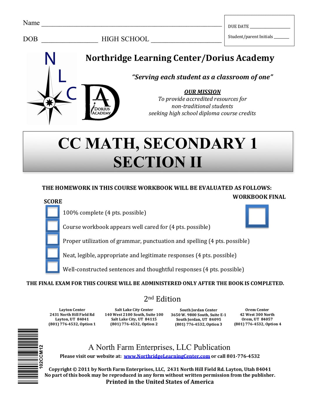 CC Math, Secondary 1, Section II