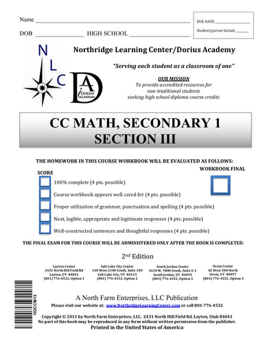 CC Math, Secondary 1, Section III