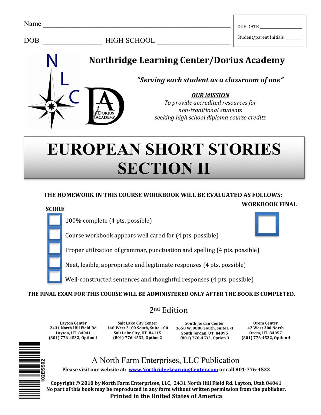 European Short Stories, Sections II
