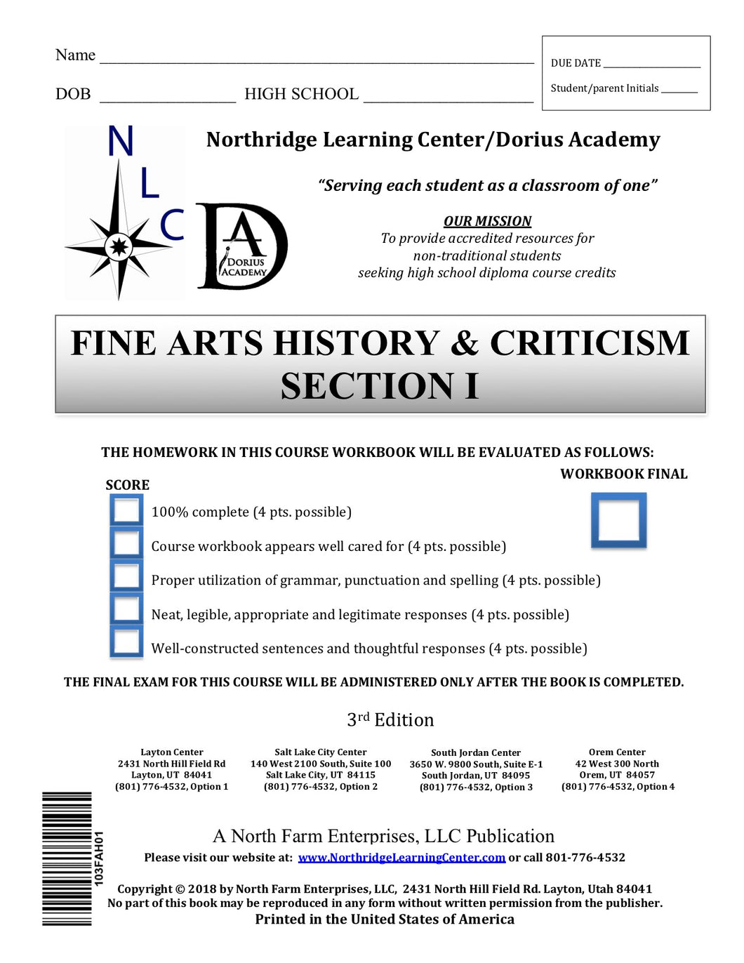 Fine Arts History & Criticism, Section I
