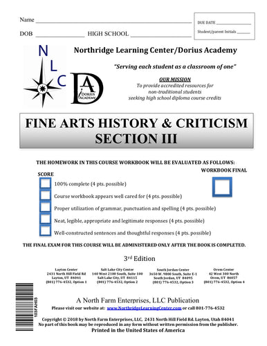 Fine Arts History & Criticism, Section III