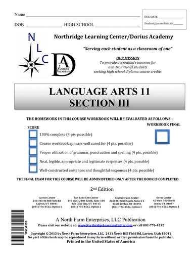 Language Arts 11, Section III