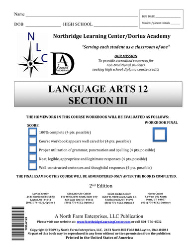 Language Arts 12, Section III