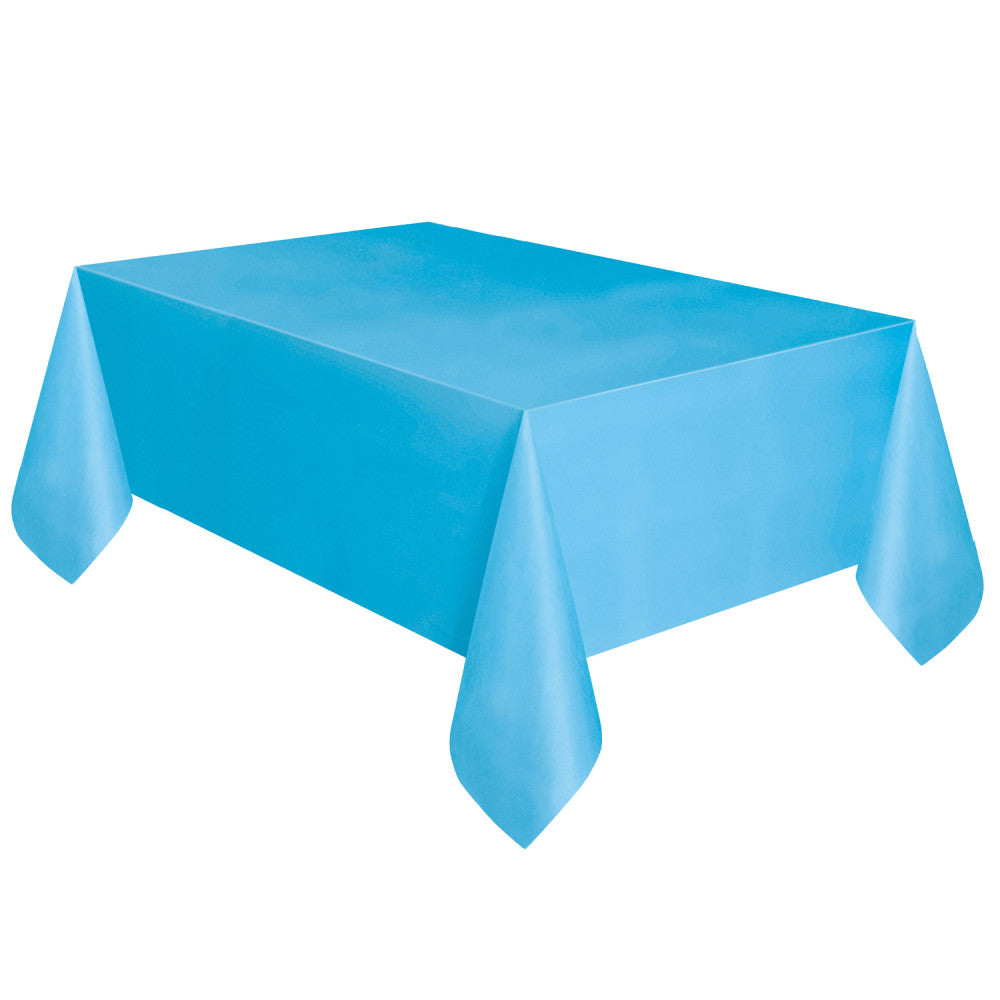 "Powder Blue Rectangular Plastic Table Cover, 54""x108"""