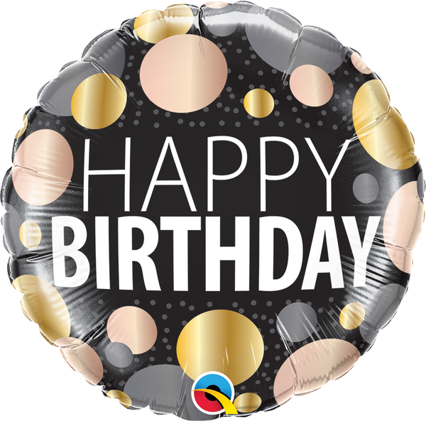 Birthday Big Metallic Dots Foil Balloon | Helium is included |.