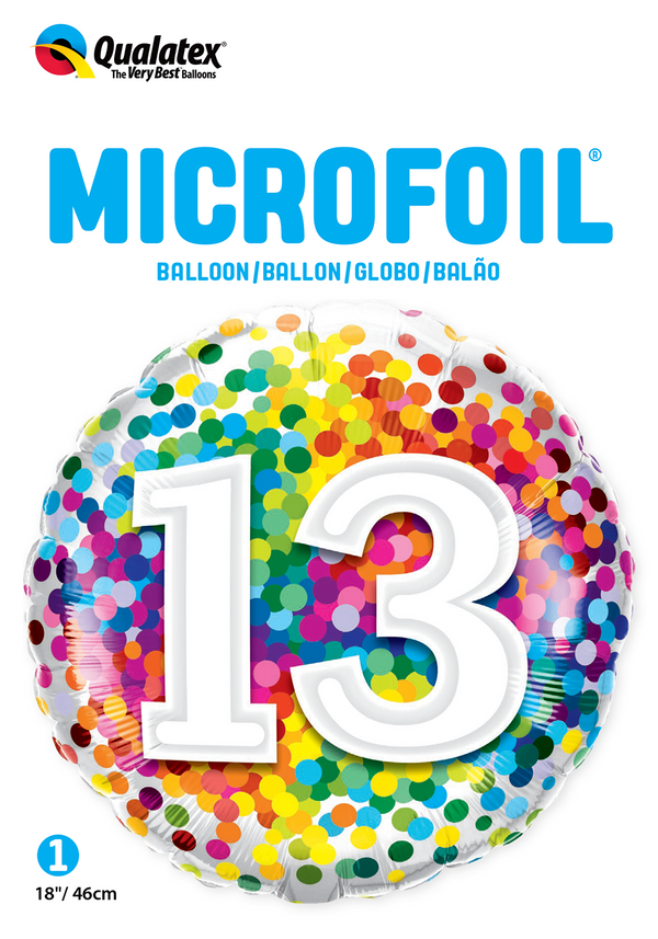13 Rainbow Confetti Foil Balloon | Helium Is Included |.