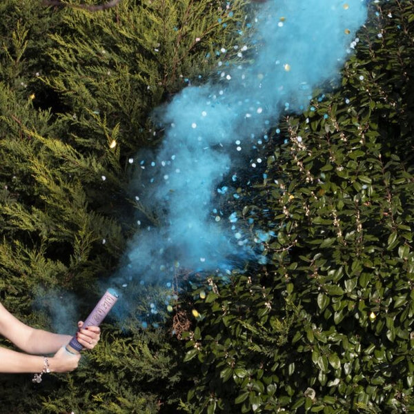 BLUE GENDER REVEAL SMOKE CANNON WITH CONFETTI