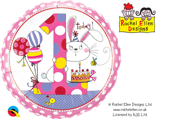Age 1 Bunny Polka Dots Foil Balloon | Helium Is Included |.