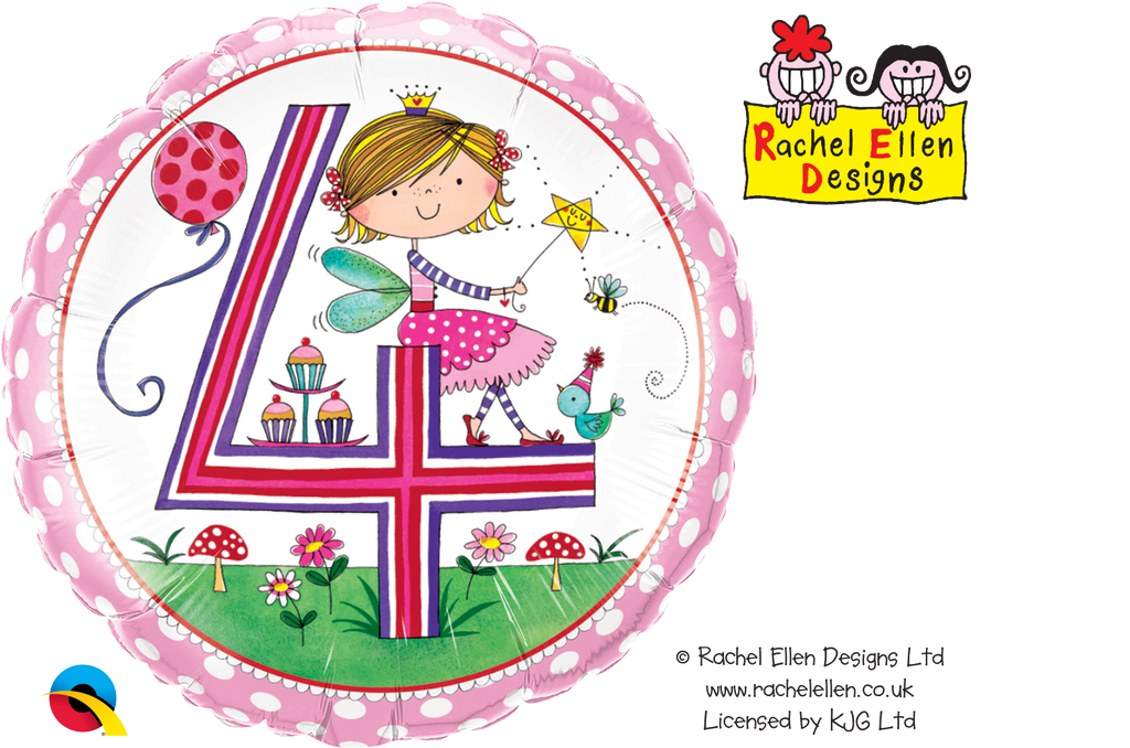Age 4 Fairy Polka Dots Foil Balloon | Helium Is Included |.