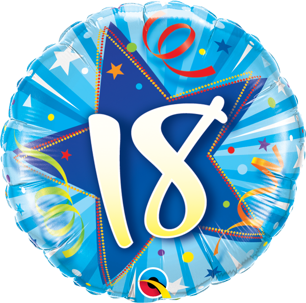 18 Shining Star Bright Blue Foil Balloon | Helium Is Included |.