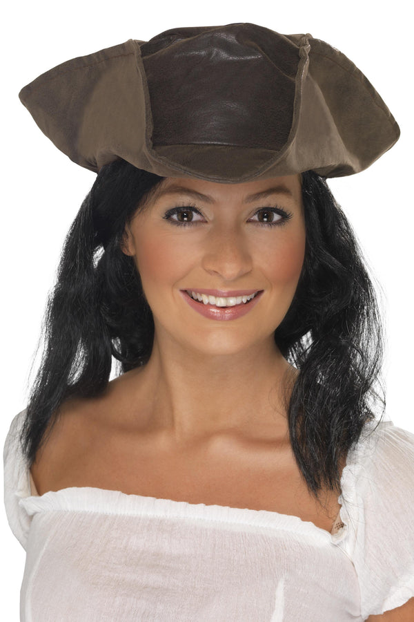 Leather Look Pirate Hat
