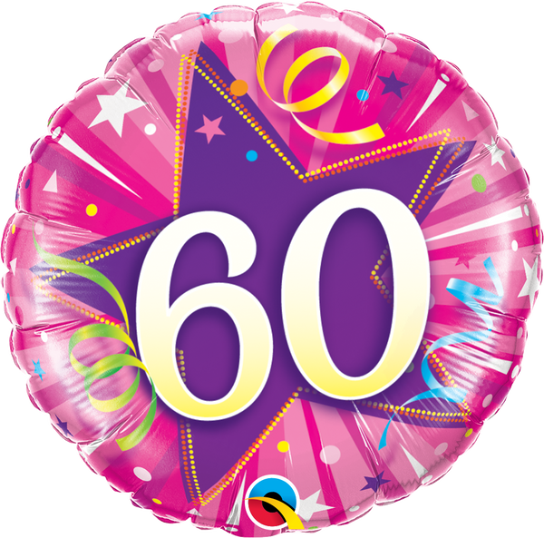 60 Shining Star Hot Pink Foil Balloon | Helium Is Included |.
