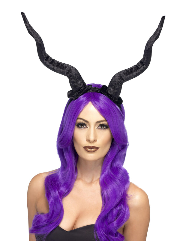 Demon Horns Headband, Black