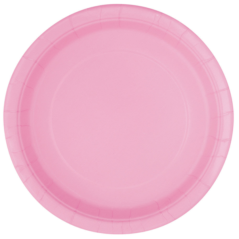 "Lovely Pink  Round 7"" Dessert Paper Plates - Pack Of 20"