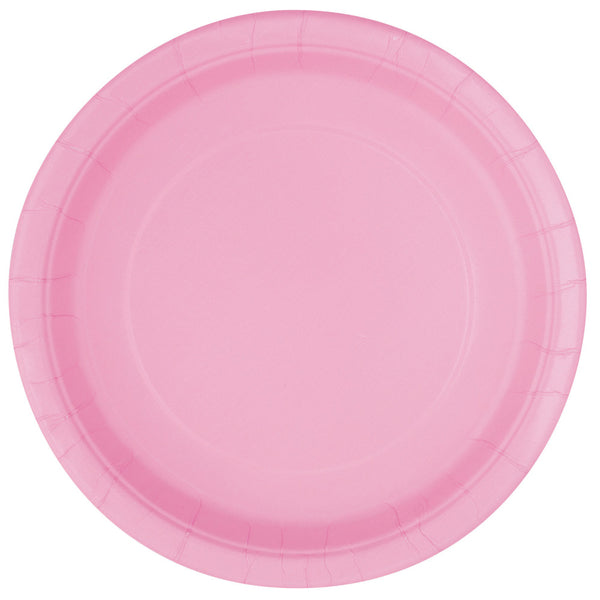"Lovely Pink Round 9"" Dinner Paper Plates - Pack Of 16"
