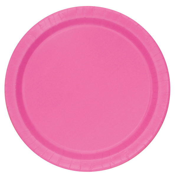 "Hot Pink Round 9"" Dinner Paper Plates - Pack Of 16"