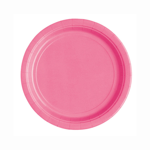 "Hot Pink Round 7"" Dessert Paper Plates - Pack Of 20"