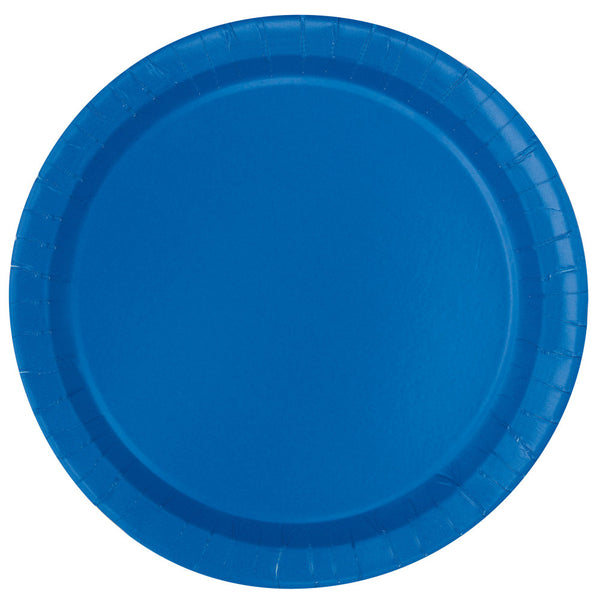 "Blue Round 9"" Dinner Paper Plates - Pack Of 16"