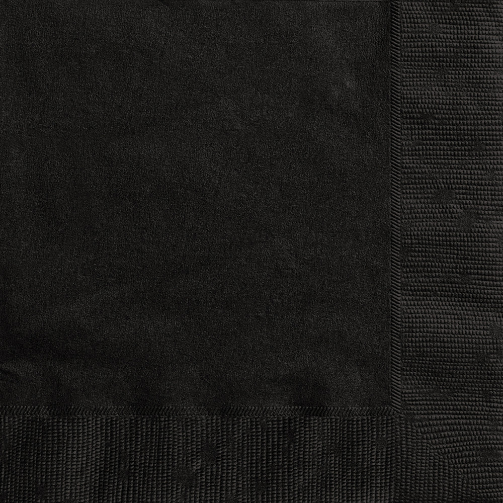 Midnight Black Beverage Napkins - Pack of 20