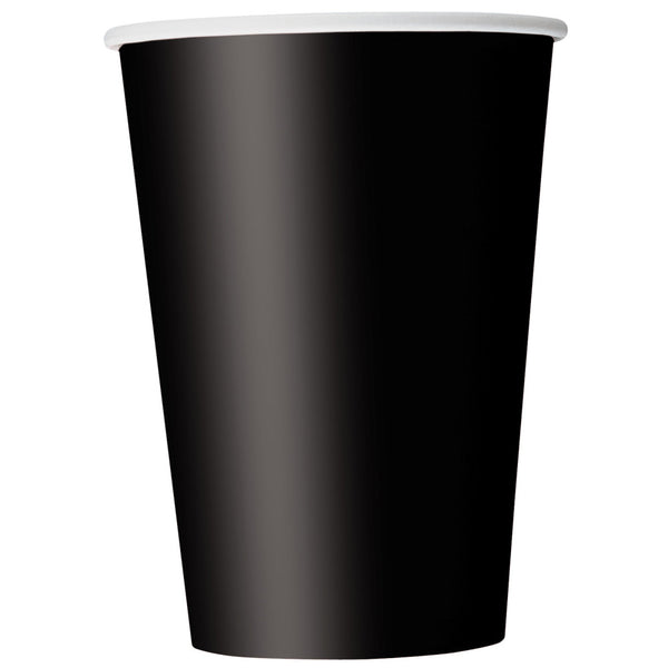 Midnight Black 12oz Paper Cups - Pack Of 10