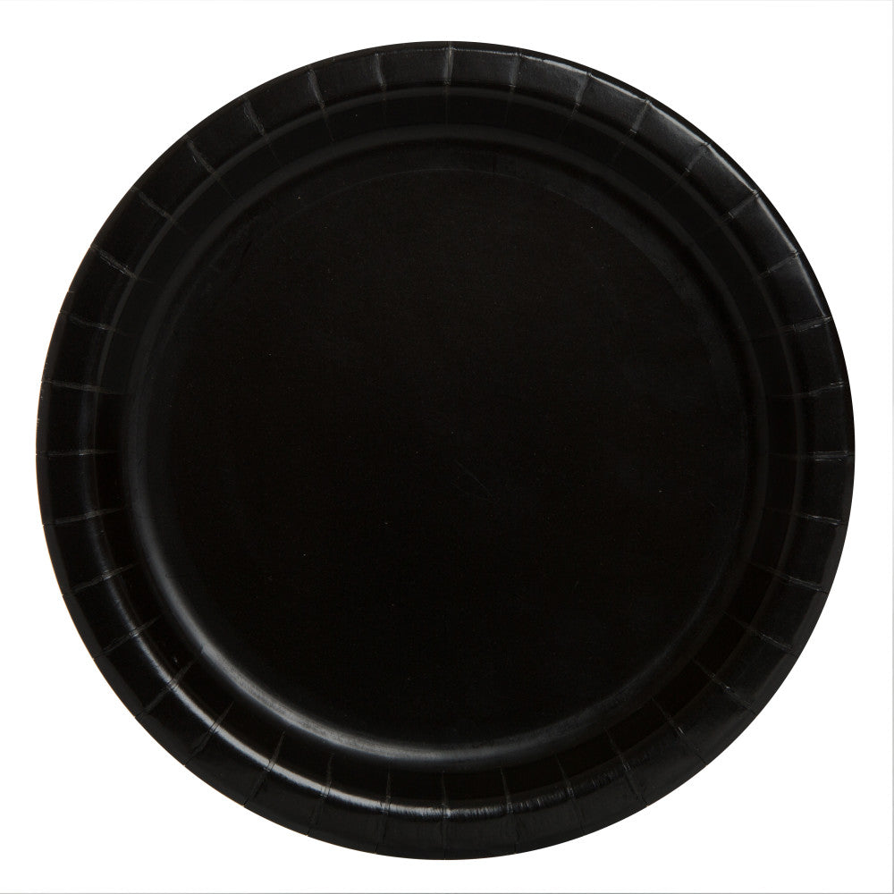 "Midnight Black Round 9"" Dinner Paper Plates - Pack Of 16"
