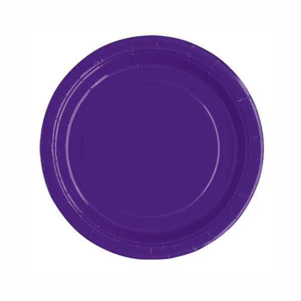 "Deep Purple Round 7"" Dessert Paper Plates - Pack Of 20"