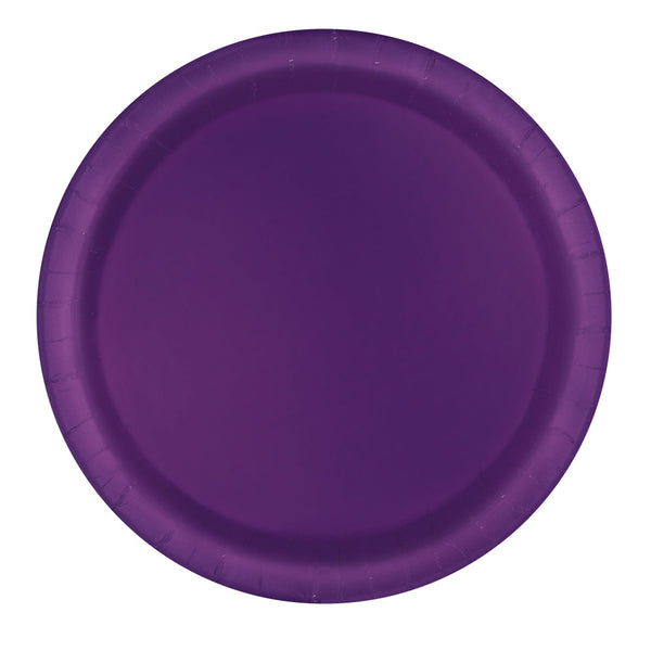 "Deep Purple Round 9"" Dinner Paper Plates - Pack Of 16"