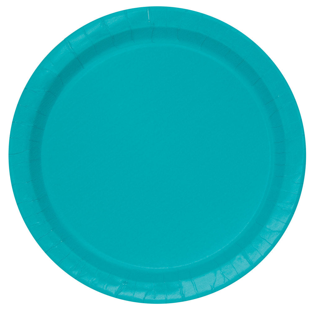 "Teal Round 9"" Dinner Paper Plates - Pack Of 16"