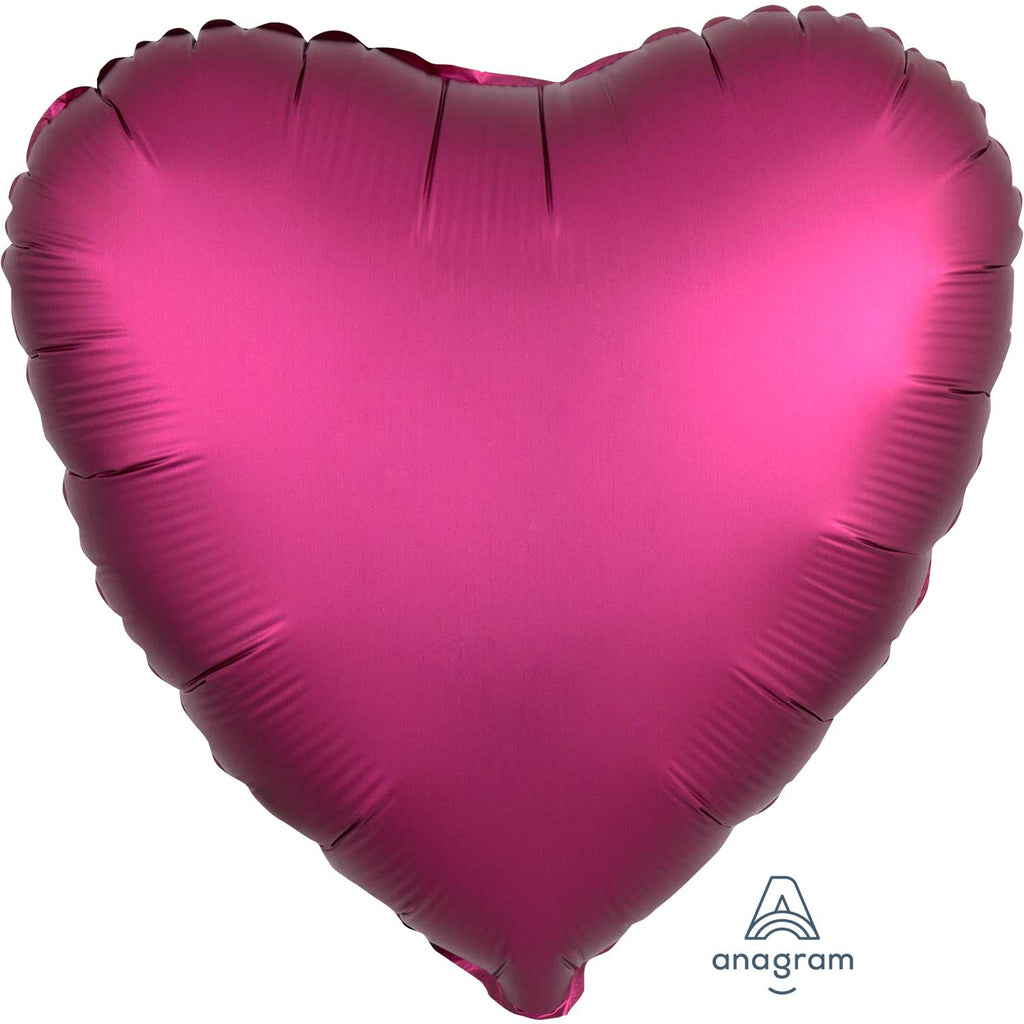 Heart Satin Luxe Foil Balloon | Pomegranate | Helium is included.