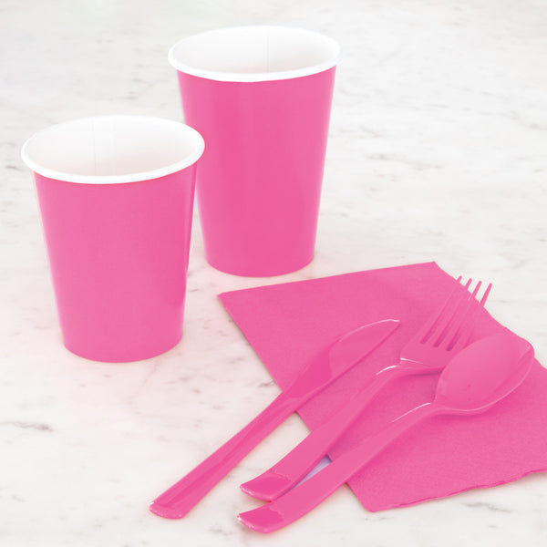 Hot Pink Assorted Plastic Cutlery - Pack Of 18