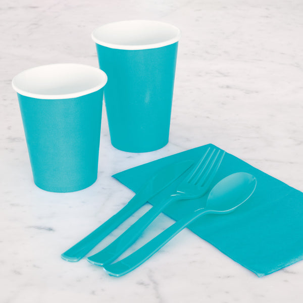 Teal Assorted Plastic Cutlery - Pack Of 18