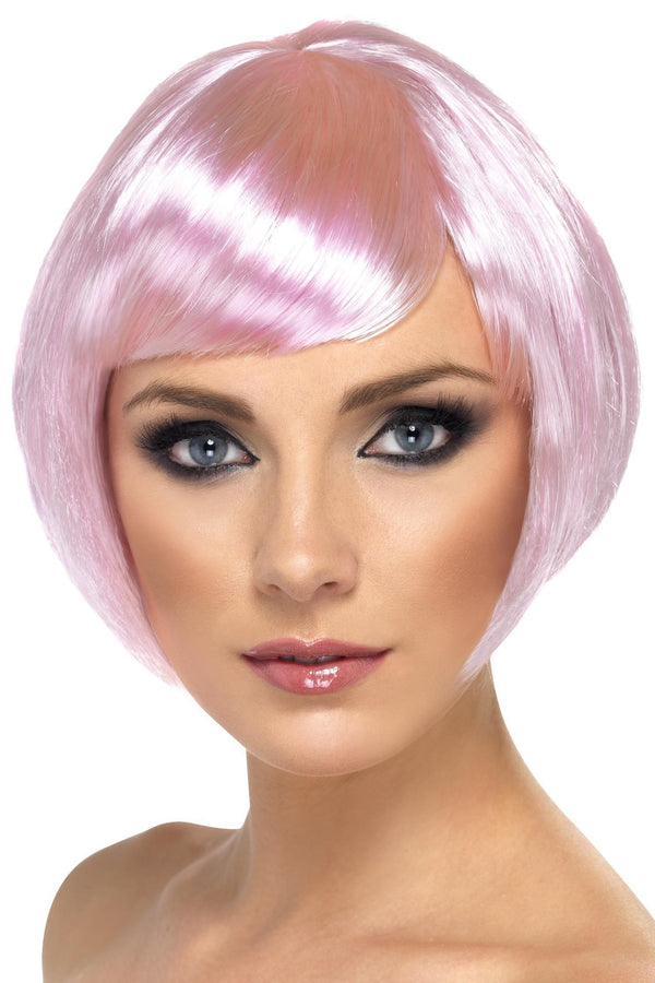 Babe Wig, Pink, Short Bob with Fringe